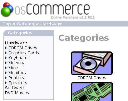 osCommerce Main Categories Customization example